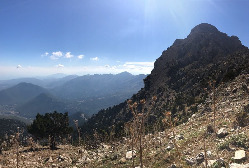 beautiful view of greek mountains from mount artemisio