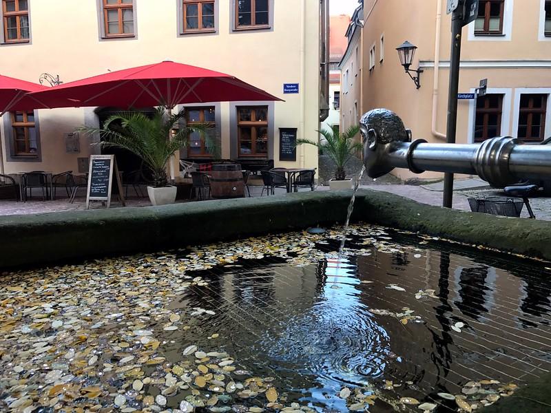human head water tap in pirna town in saxon switzerland