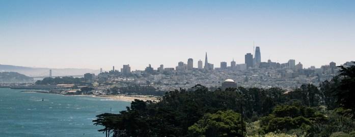 Vistas del skyline de la ciudad de San Francisco desde el Golden Gate