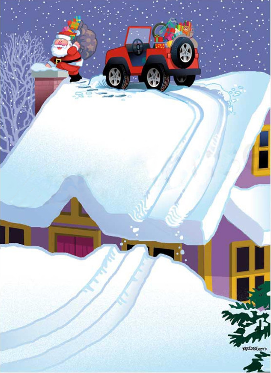 Four Wheeling Delivery - Jeep Christmas Card - Inside Card: Happy Holidays - Offroad Santa