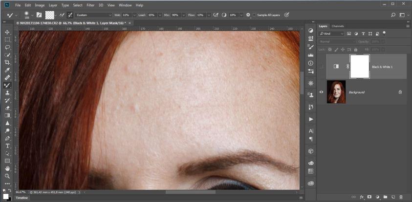 De oneffenheden op de huid zijn soms wat moeilijk te zien.