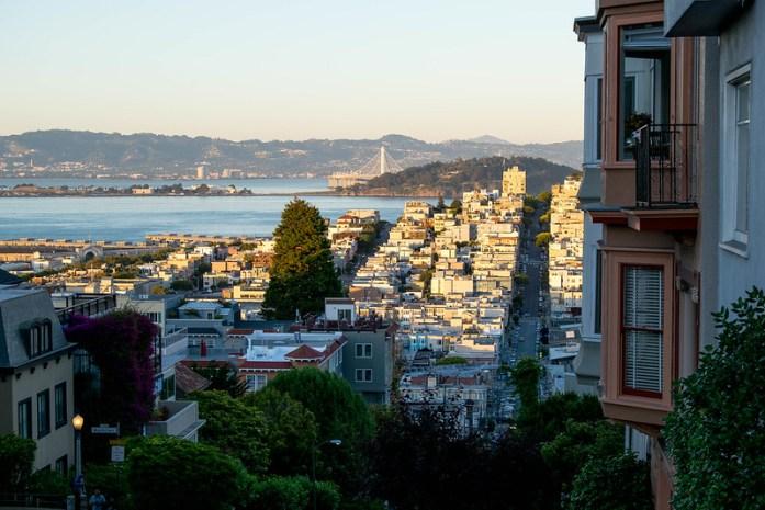 San Francisco, Lombard Street, calle, casas, árboles, había