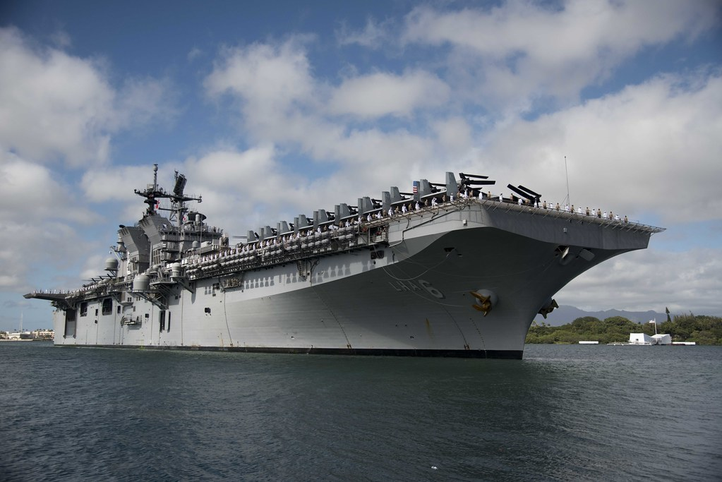 USS America LHA 6 moored at Joint Base Pearl HarborHick