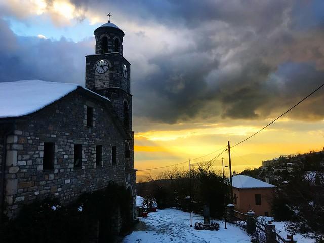 agios georgios village mount pelion greece beautiful sunset