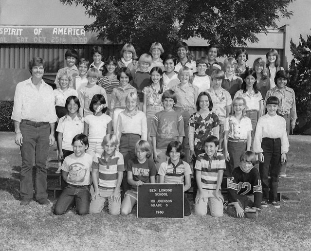 A picture of Keith Johnson, teacher, and his 1980 sixth grade class.