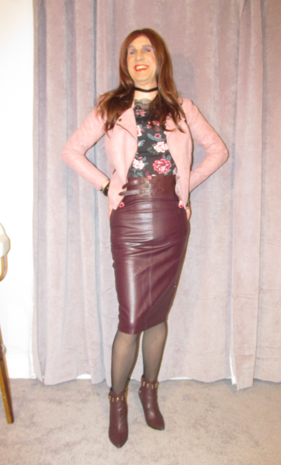 Burgundy leather skirt and matching ankle boots  Flickr