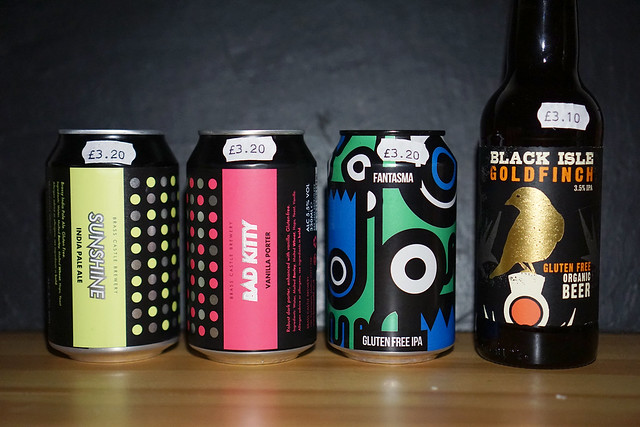 Gluten free beers: Bad Kitty, Fantasma, Black Isle Goldfish | From Indiebeer in Holloway | Gluten Free Finsbury Park Guide