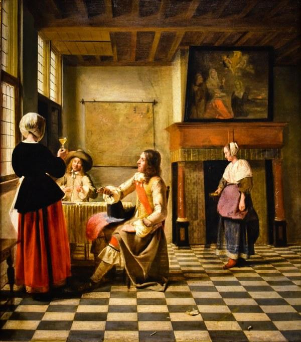 Pieter De Hooch - Woman Drinking With Two Men 1658