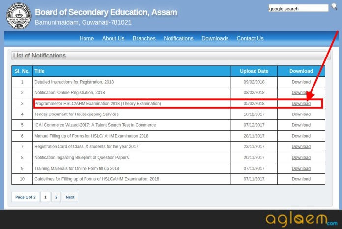 Assam HSLC Time Table 2018 for Class 10th