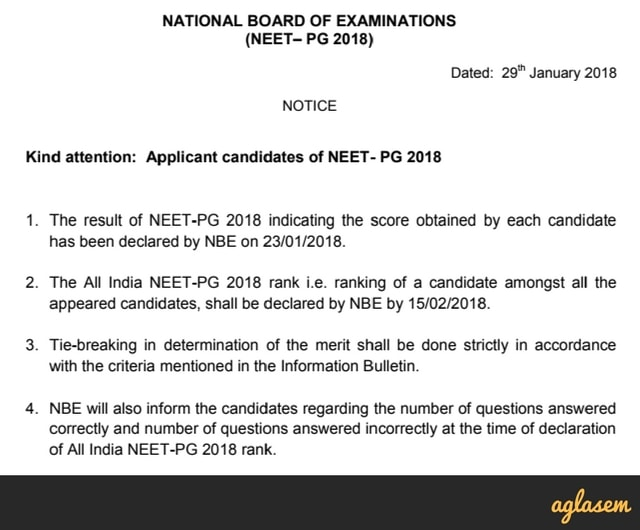 NEET PG 2018 Result and Rank Announced (nbe.edu.in) – Rank, Merit List, Score Card