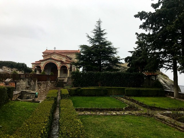 Cute gardens and church in St Stephen's Monastery in meteora precincts