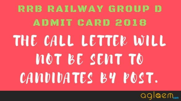 RRB Railway Group D Admit Card 2018 - Download Hall Ticket / Call Letter