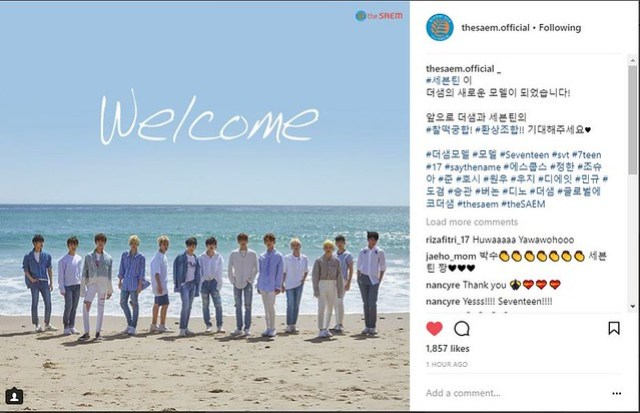 Seventeen officially endorsing The Saem
