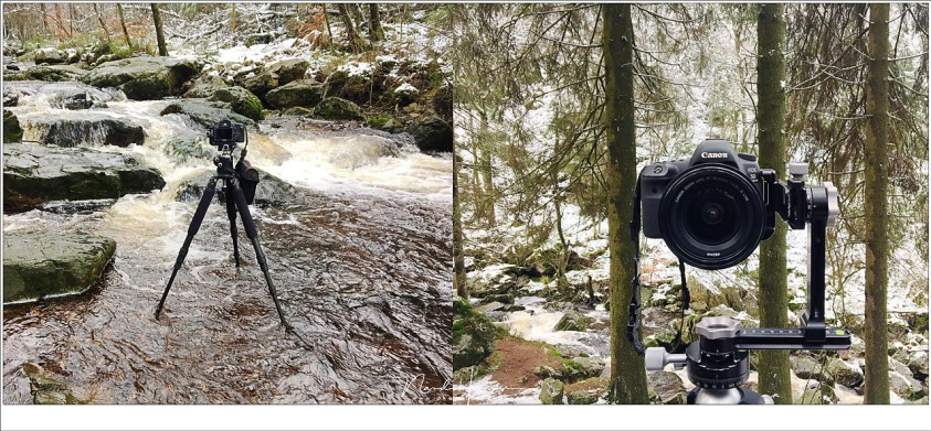 Fotograferen in het water, dicht bij de waterval, en de panorama setup om de hoge bomen boven het pad zichtbaar te maken.