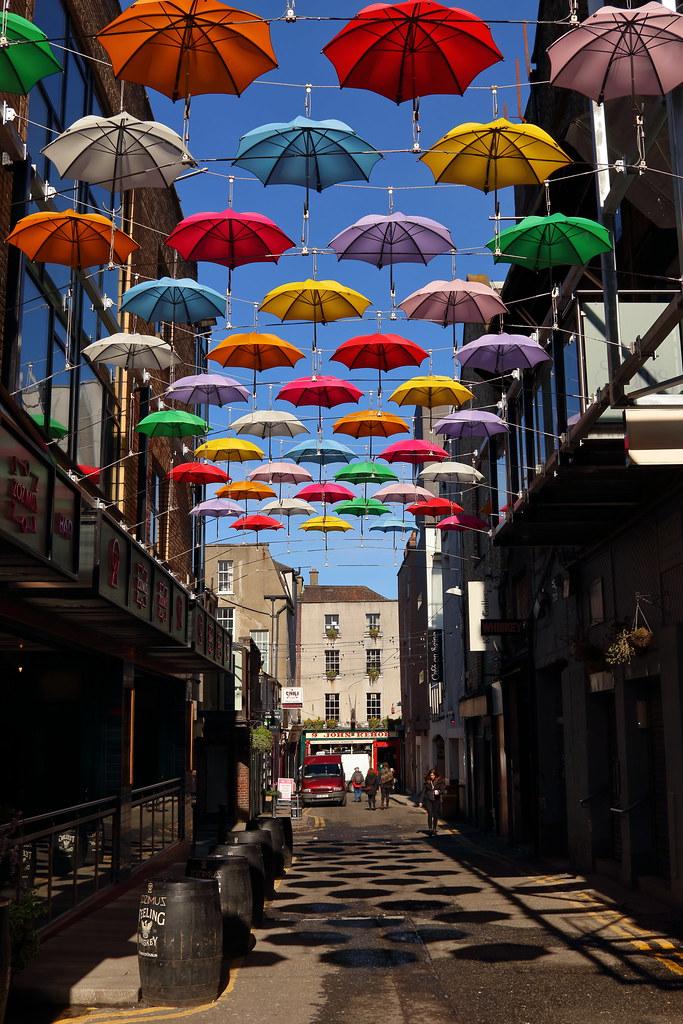 Colourful Dublin Street  Umbrella adornments outside Zozimu  Flickr