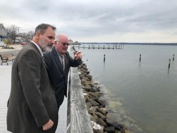 Photo of Secretary Mark Belton viewing Chesapeake Bay from Calvert County Maritime Museum