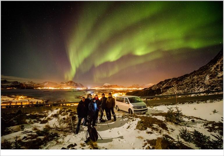 Het reisgezelschap van de reis over Lofoten in 2018 onder het Noorderlicht