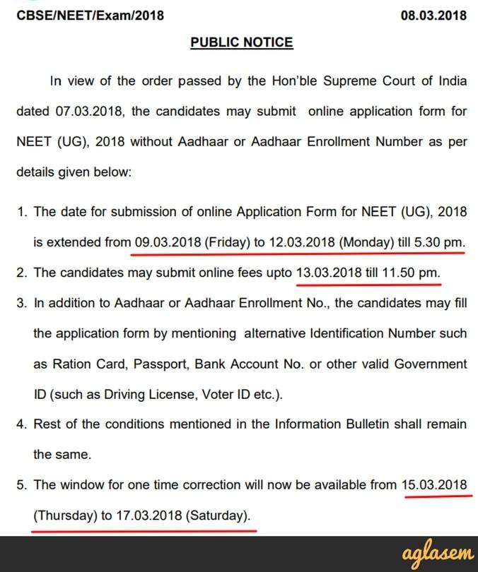 Neet 2018 Application Form Last Date 12 March