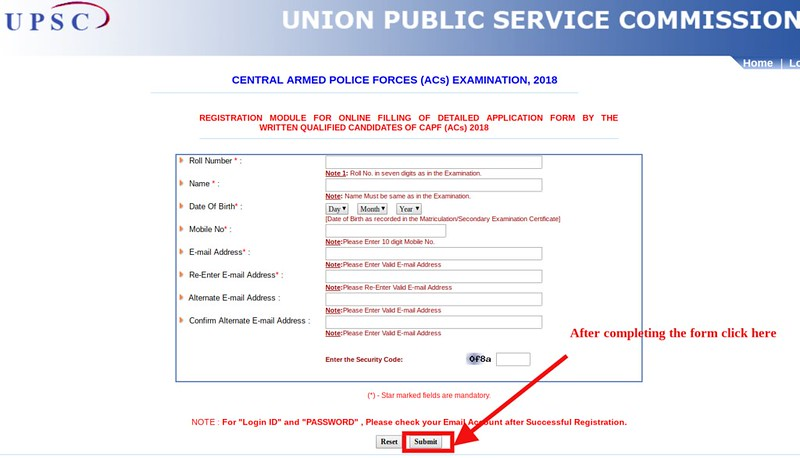 UPSC CAPF 2018 Detailed Application Form (DAF)
