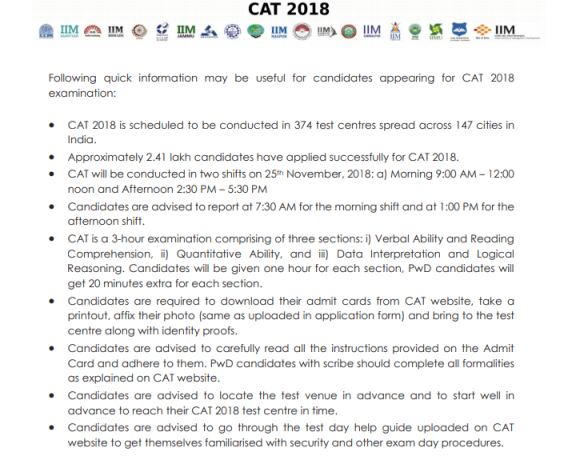 CAT 2018 Exam day rules