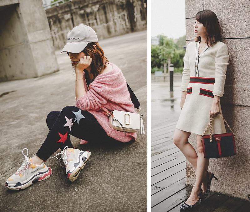 ▌Outfit ▌兩種風格:Maje毛尼洋裝 + Sundry運動legging + Gucci Ophidia + Jimmy Choo Tweed Erin 60 Slingback Pumps