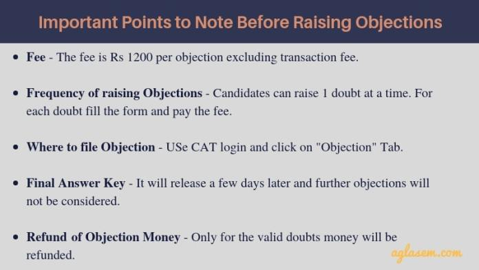 How to file Objections in CAT 2018 Answer Key?