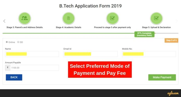 SRM Application Fee Payment