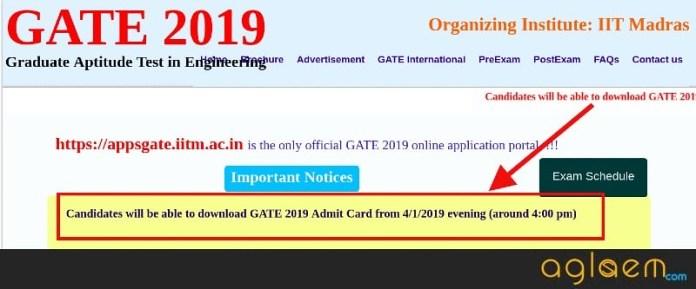 GATE 2019 Admit Card