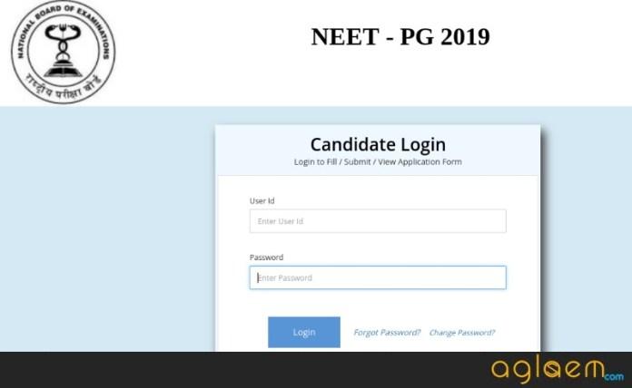 NEET PG 2019 Admit Card Login