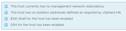 This host has no isolation addresses defined as required by vSphere HA