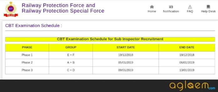 RPF SI Exam Schedule 2018 (New)