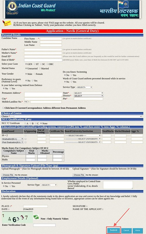 Application Form Page