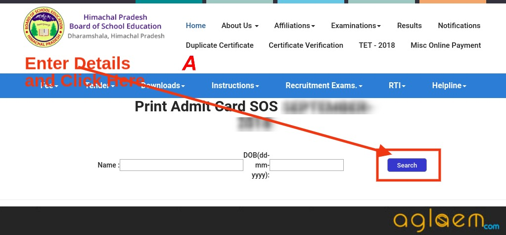 HP Board Open 10th Admit Card March 2019