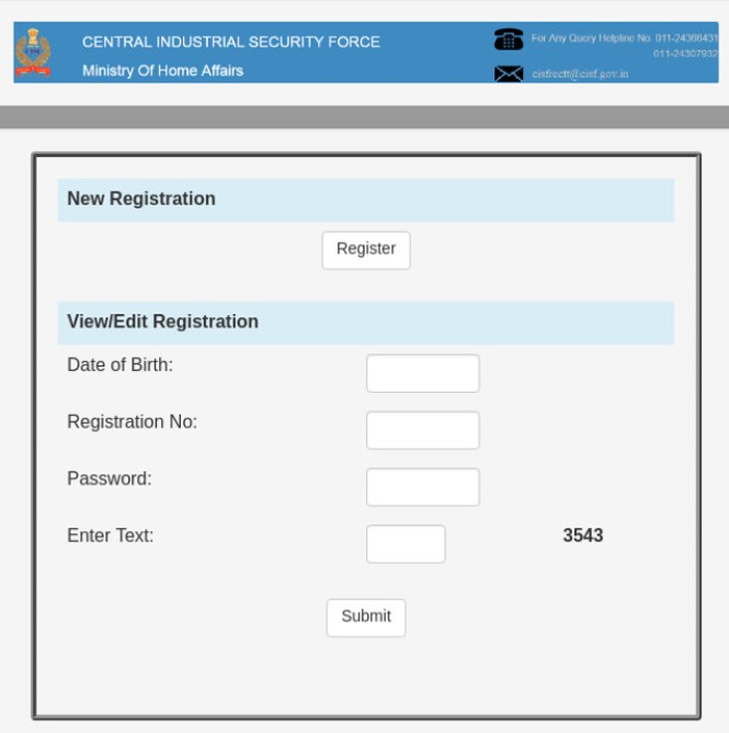CISF Registration/Login Window