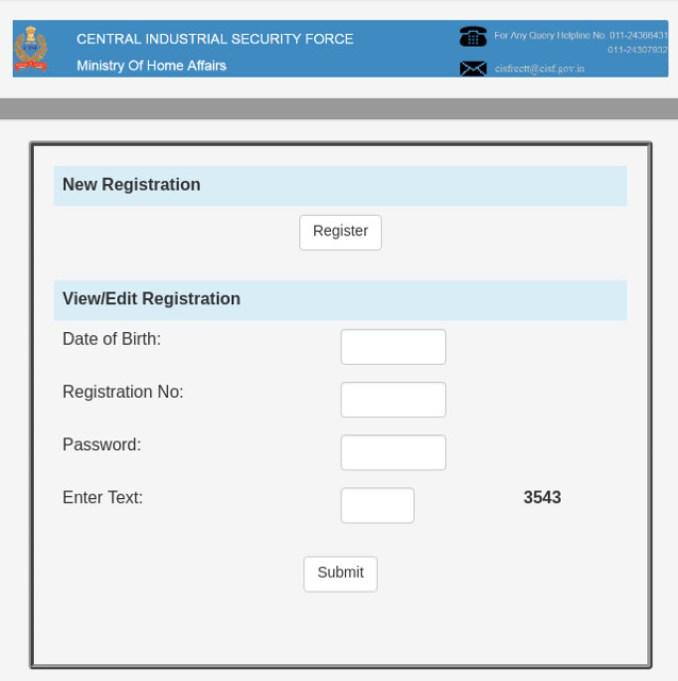 CISF Registration/Login Window