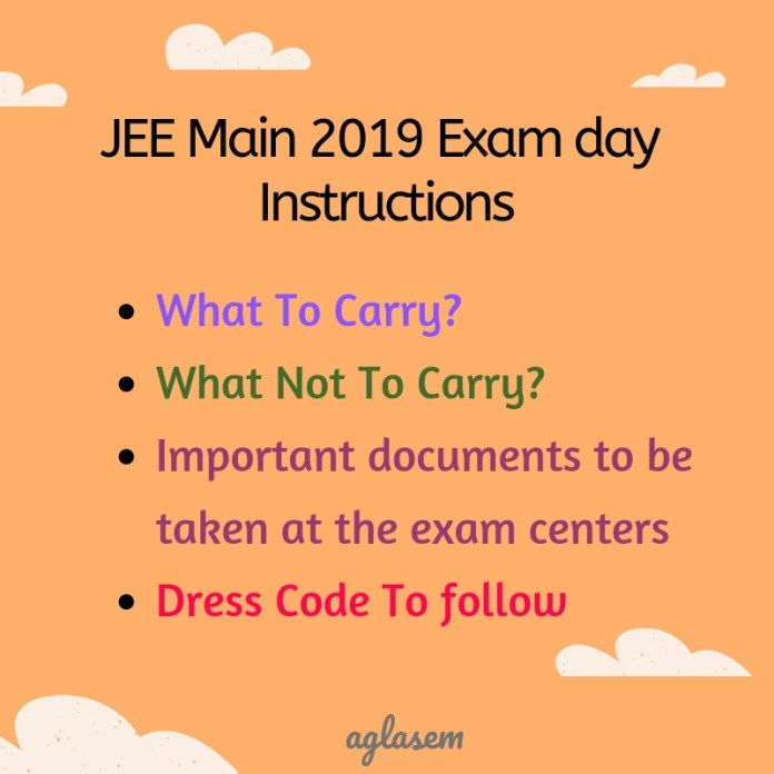 JEE Main 2019 Exam day Instructions