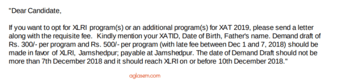 Choose Additional Programmes for XLRI