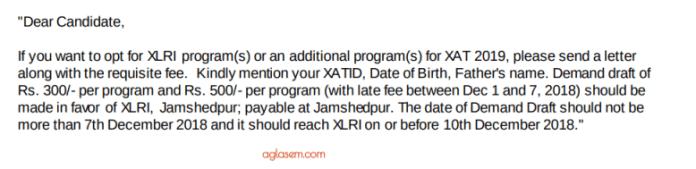 Choose Additional Programmes for XLRI