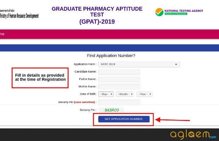 GPAT 2019 Application Number