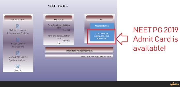 NEET PG 2019 Admit Card / Hall Ticket (Released)   Download Here