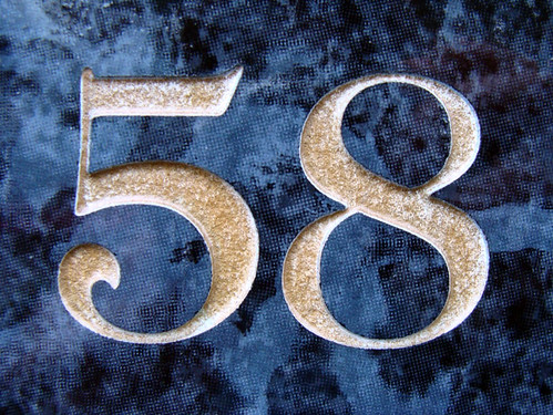 No 58  gold on blue  Ive been collecting house numbers
