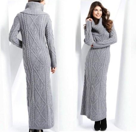 robe de pull longue grise