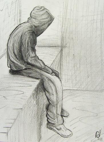 Girl Sad Drawings Depressed Lonely