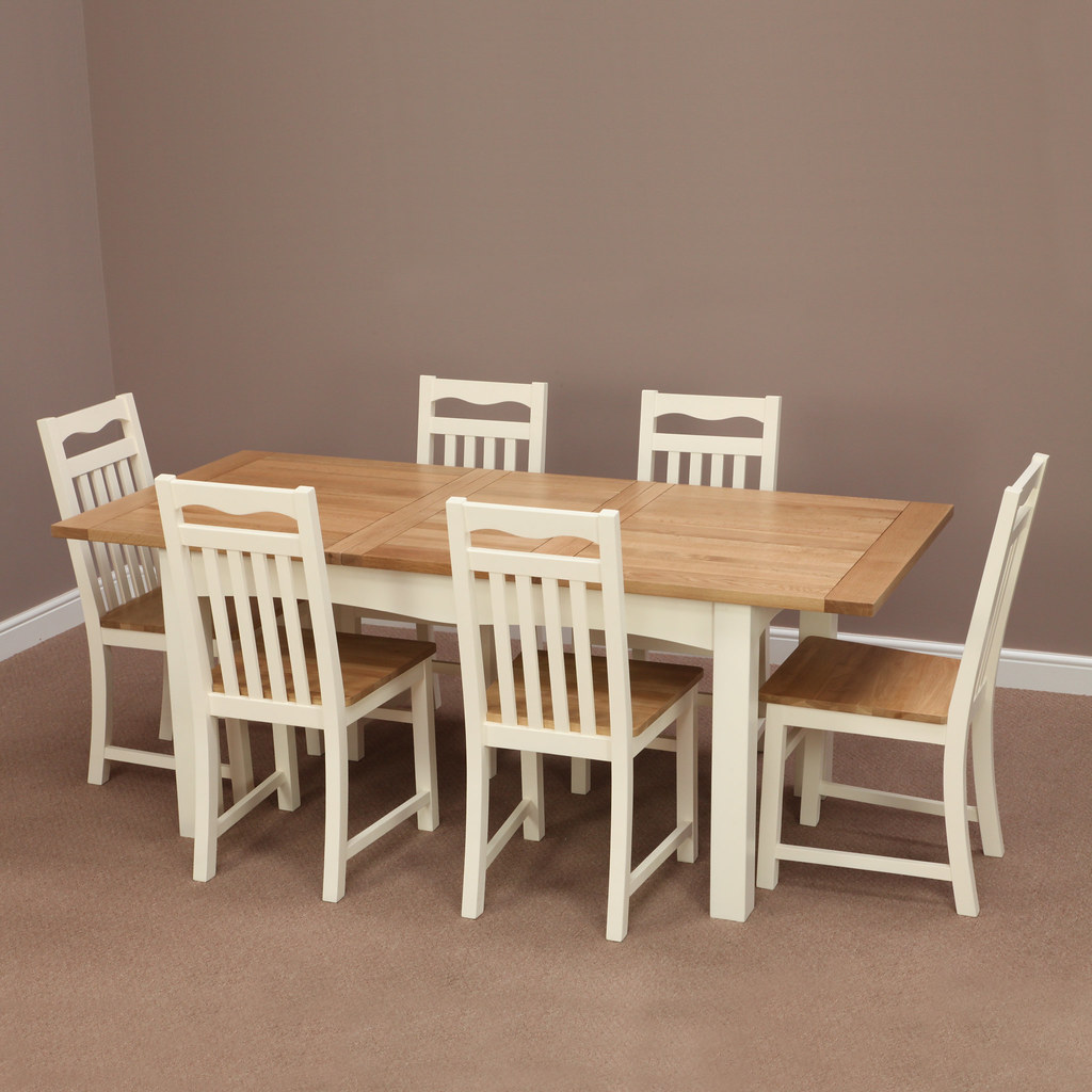 oak dining set 6 chairs how to sew bean bag chair cotswold cream painted solid extending table flickr by furniture
