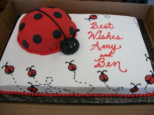 kitchen cost cabinet company lady bug cake   surcharge for the fondant bug. ...