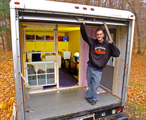 Uhaul mobile home  Standing on the porch of his