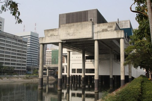 End of the line at Tuen Mun station: it is over the top of a nullah (canal)