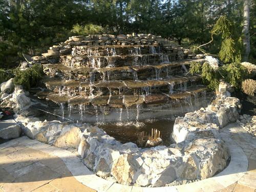 custom natural stone waterfall
