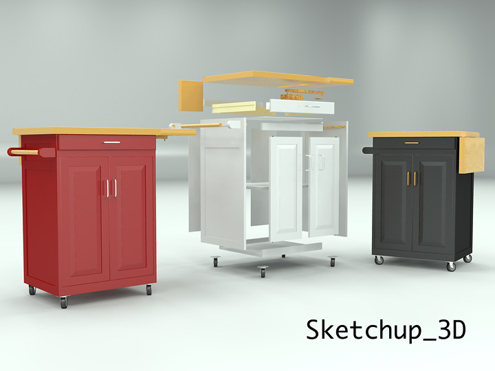 rolling kitchen cabinet remodeling ideas cart with flickr by sketchup 3d