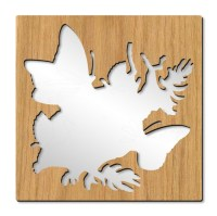 wooden framed butterfly wall mirror | Oak veneered wooden ...
